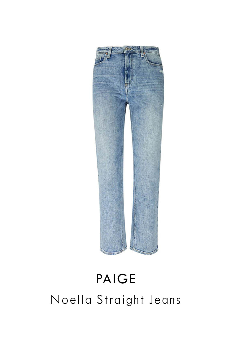Paige Light Blue Cotton-Blend Noella Straight Jeans