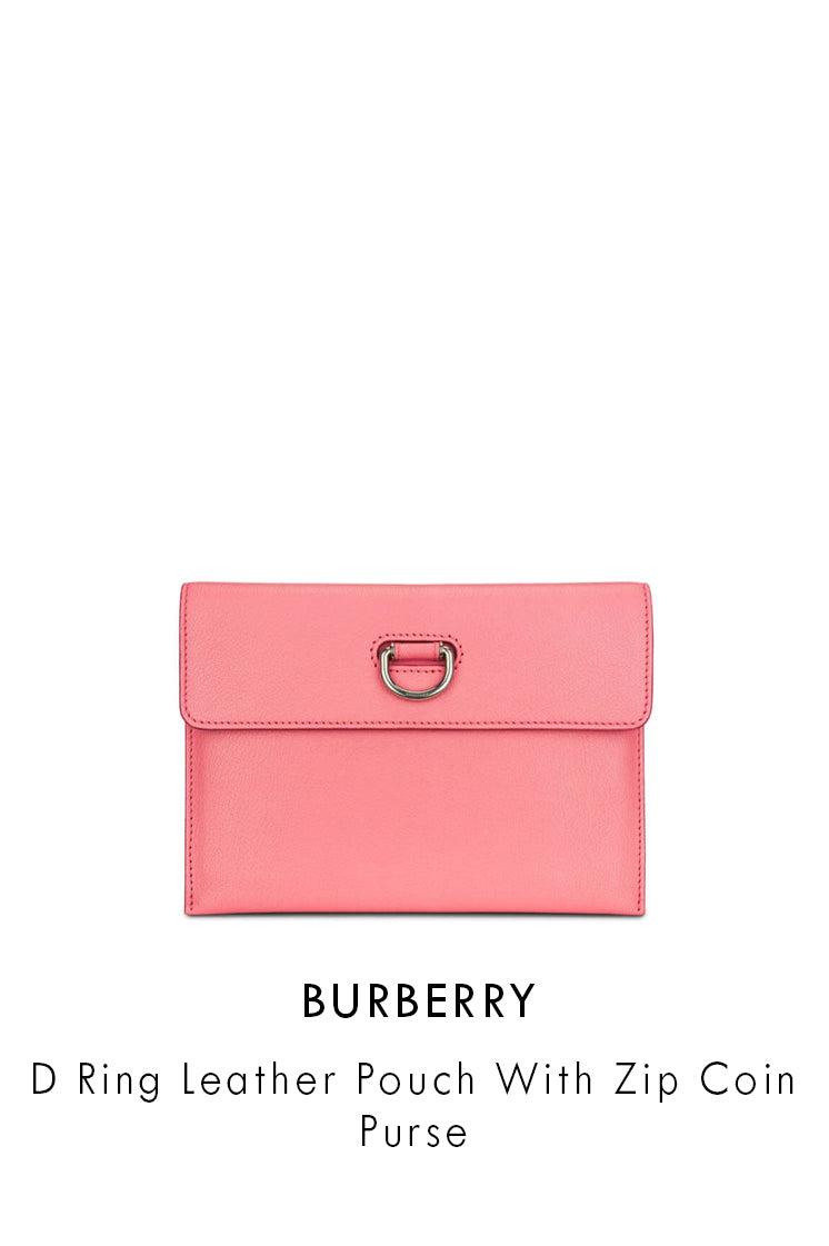 Burberry Coral Pink Leather Pouch With Zip Coin Purse
