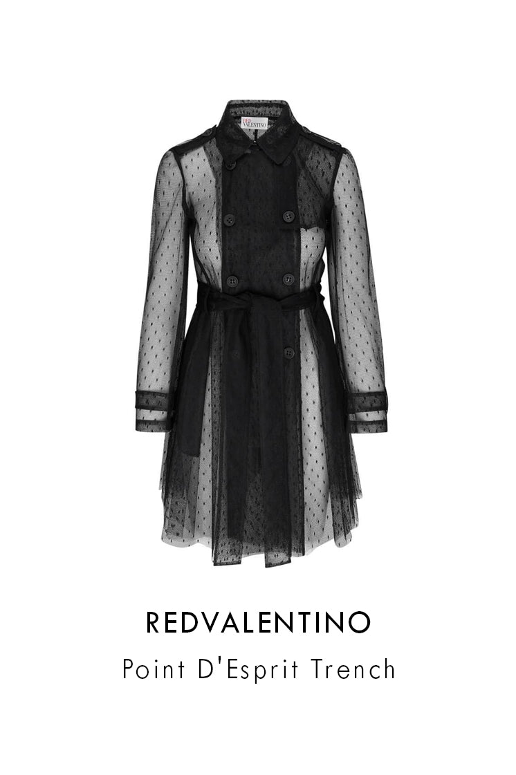 red valentino black lace point d'esprit trench