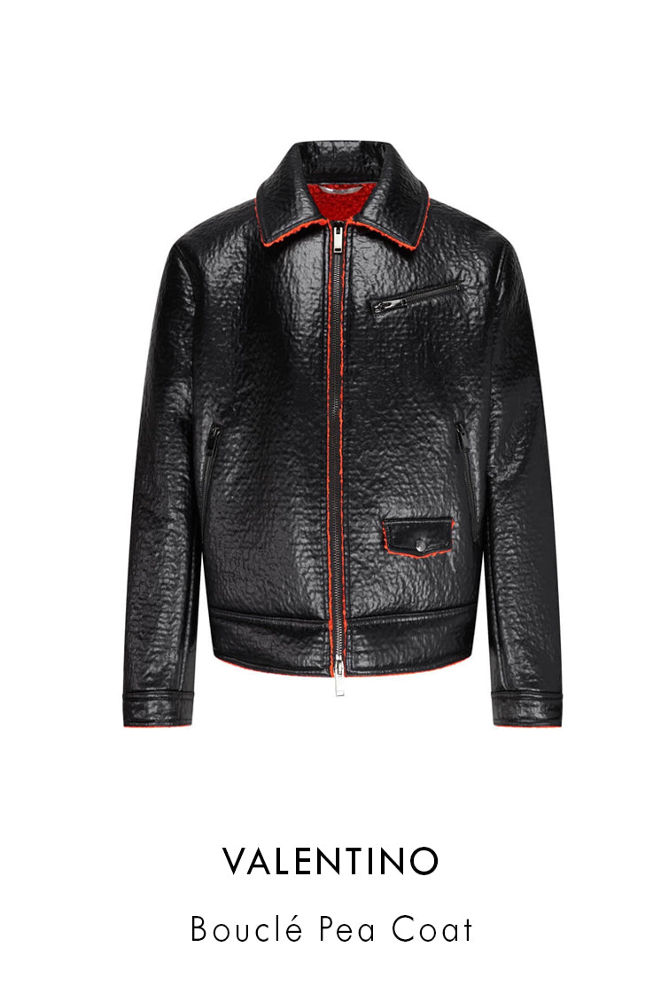 Valentino Patent black red faux leather pea coat