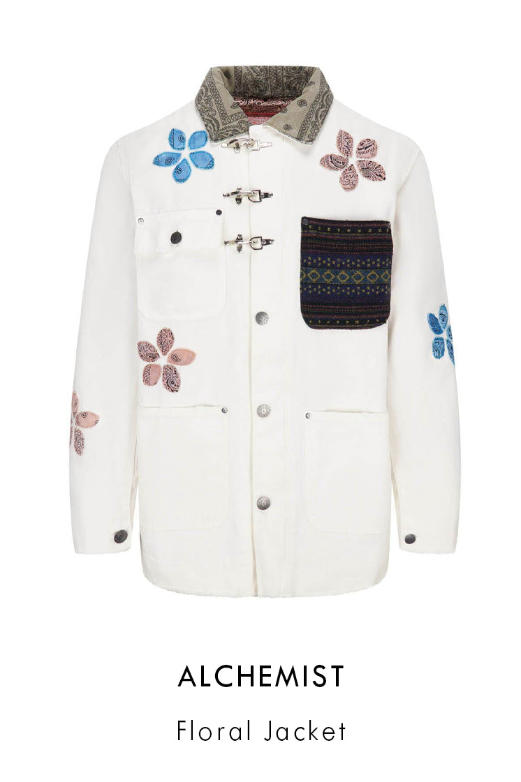 Alchemist Guess USA white cotton denim jacket with flower application in paisley prints
