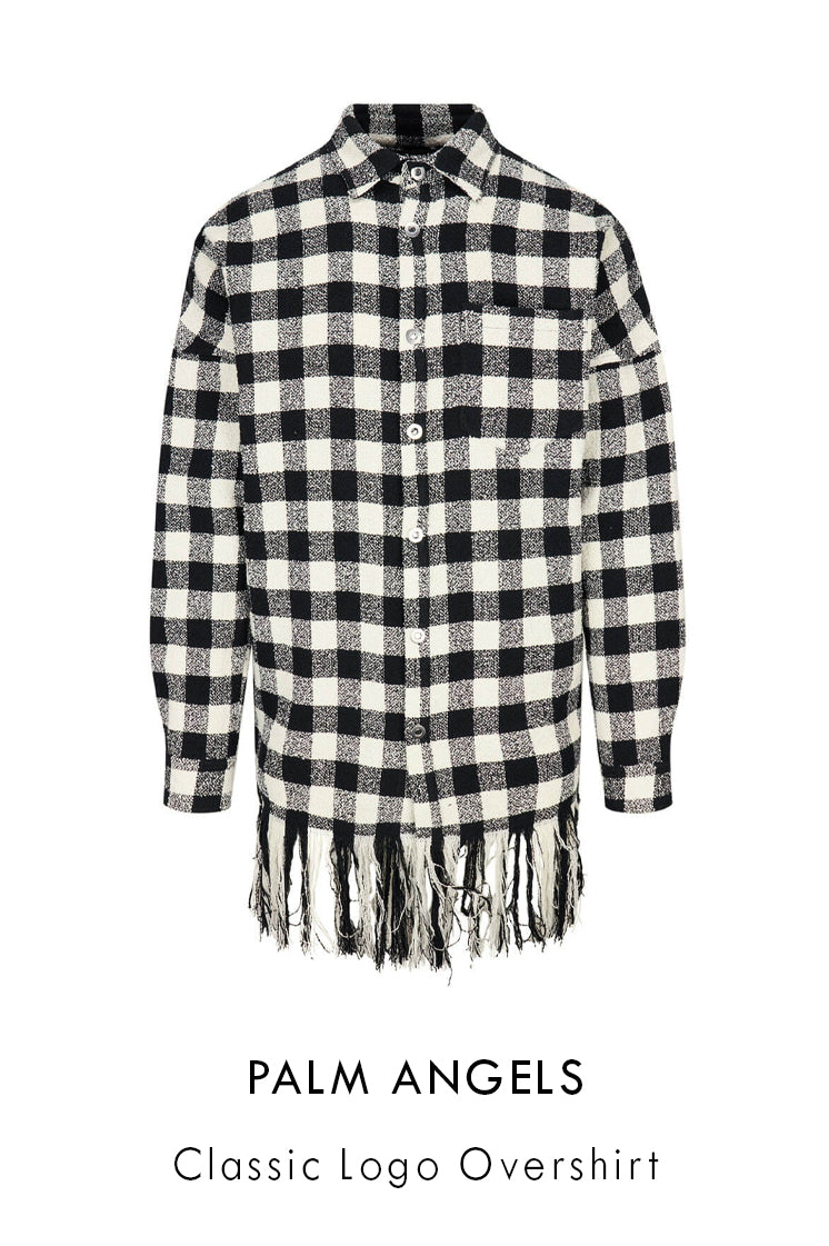 Palm Angels cotton-blend overshirt with black and white check pattern