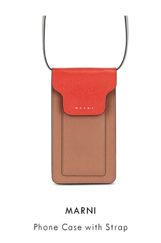 Marni Phone Case with Strap in nude and coral