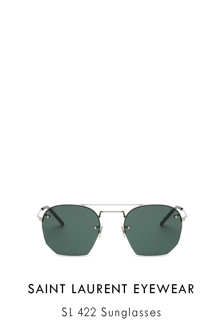 Saint Laurent Metal sunglasses in silver aviator style with a rimless design