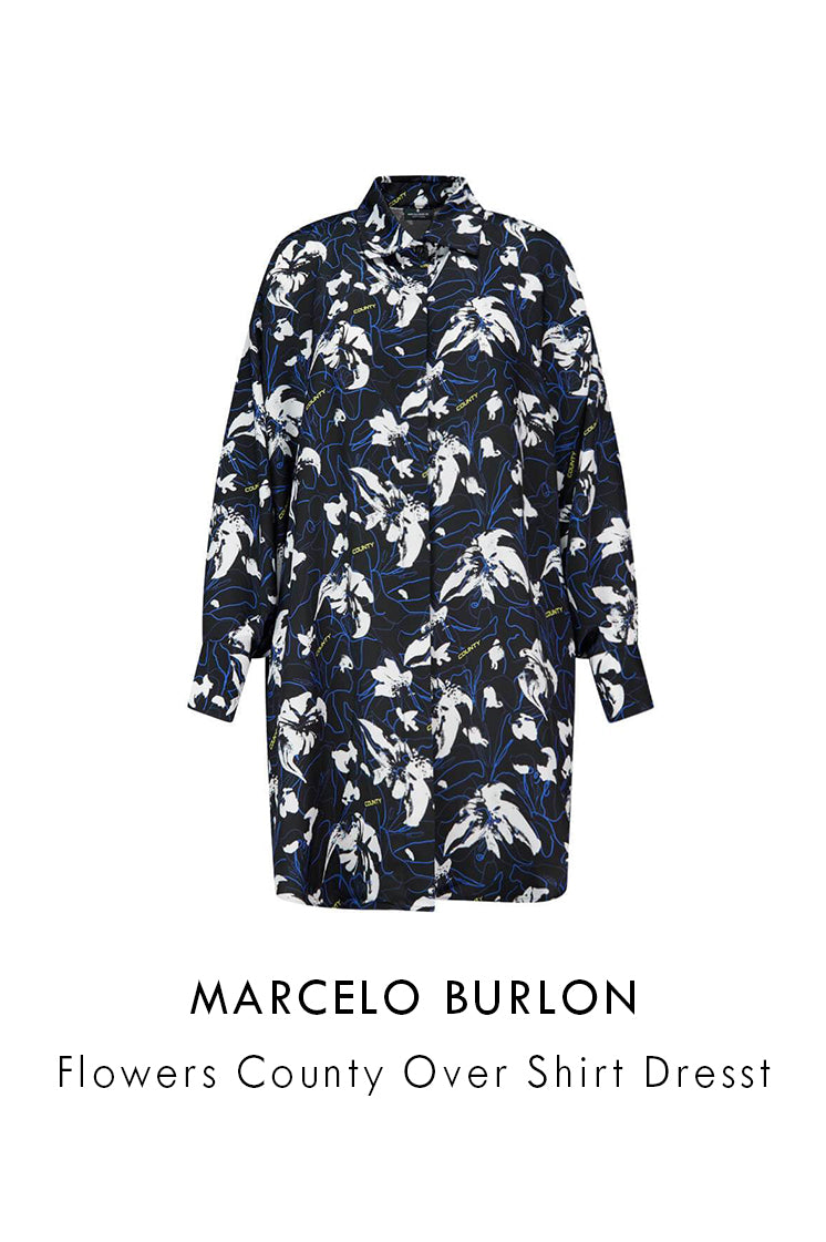 Marcelo Burlon Black Flowers County Over Shirt Dress