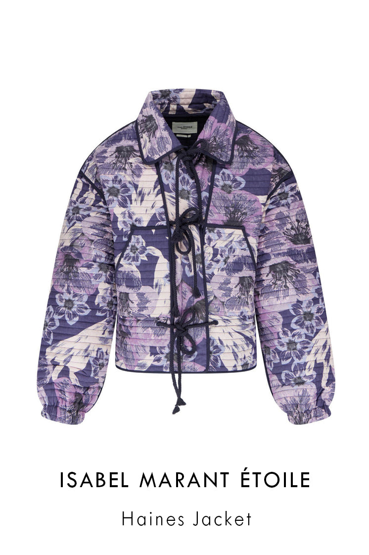 Isabel Marant Etoile navy blue cotton quilted jacket with all-over large floral pattern
