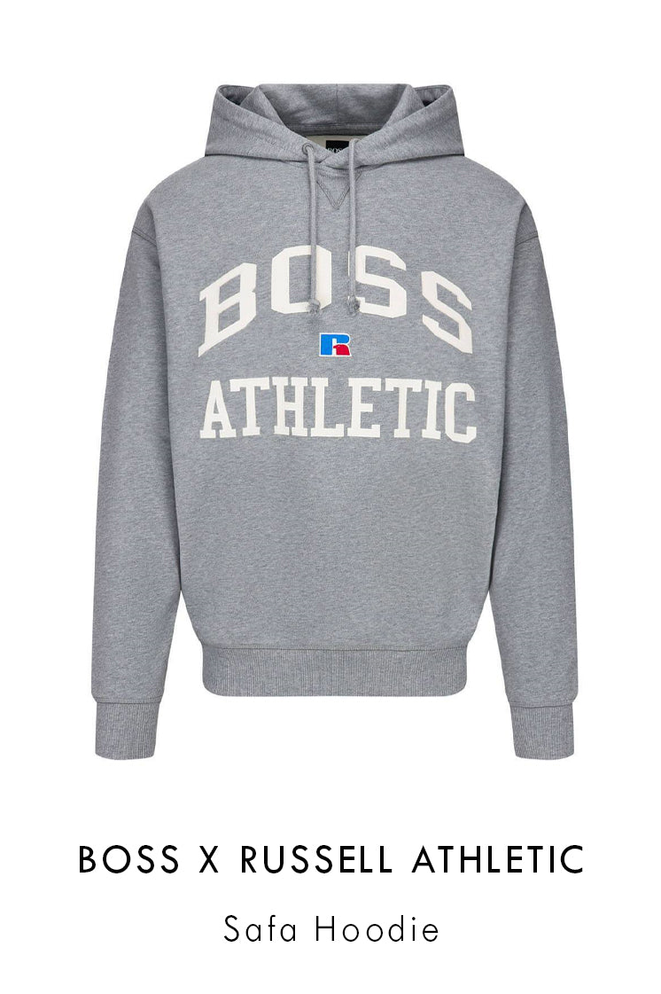 BOSS x Russell Athletic grey cotton hoodie