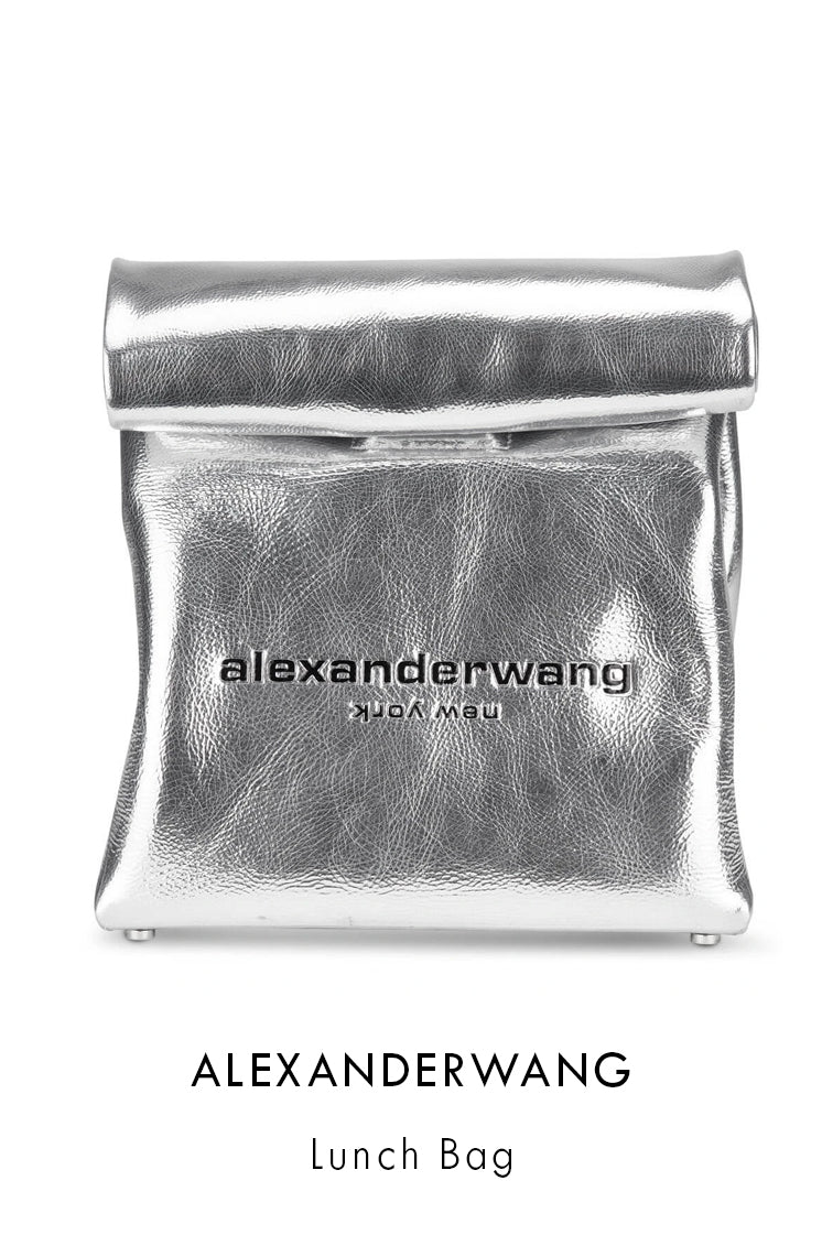 Alexanderwang grained silver metallic leather clutch bag