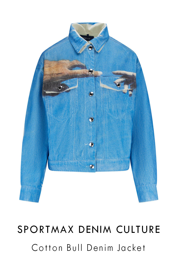 Sportmax Denim Culture blue cotton denim trucker jacket in a relaxed fit with front button-up fastening