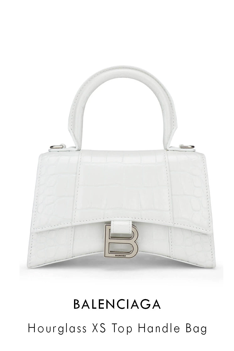 Balenciaga shiny white leather bag in hourglass shape with a curved base