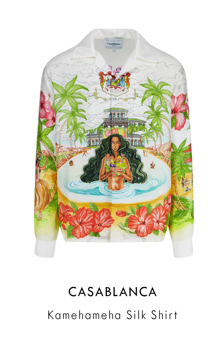 Casablanca white silk shirt with all-over lanbdscape print with a girl in the pool at the front