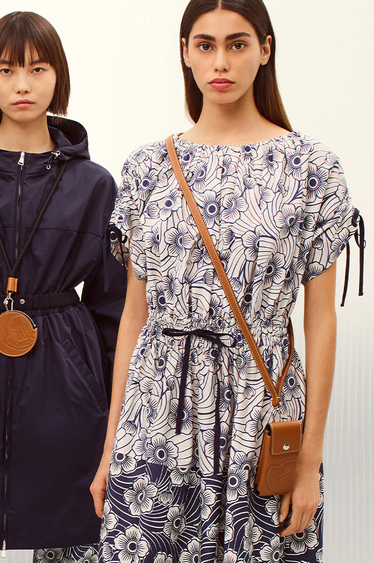 Moncler white cotton dress with all-over floral print