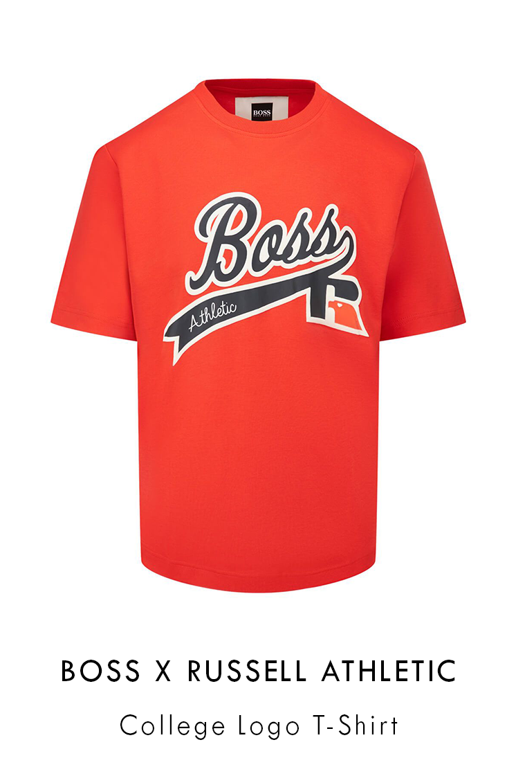 boss x russell athletic college logo t-shirt