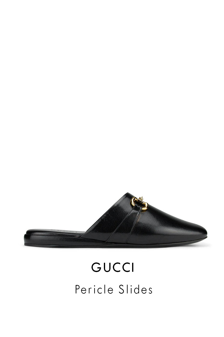 Gucci Black Leather Pericle Sliders