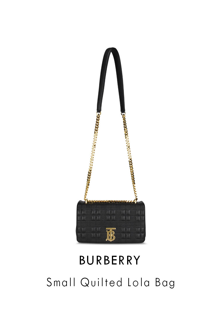 Burberry Black Leather Small Quilted Lola Bag