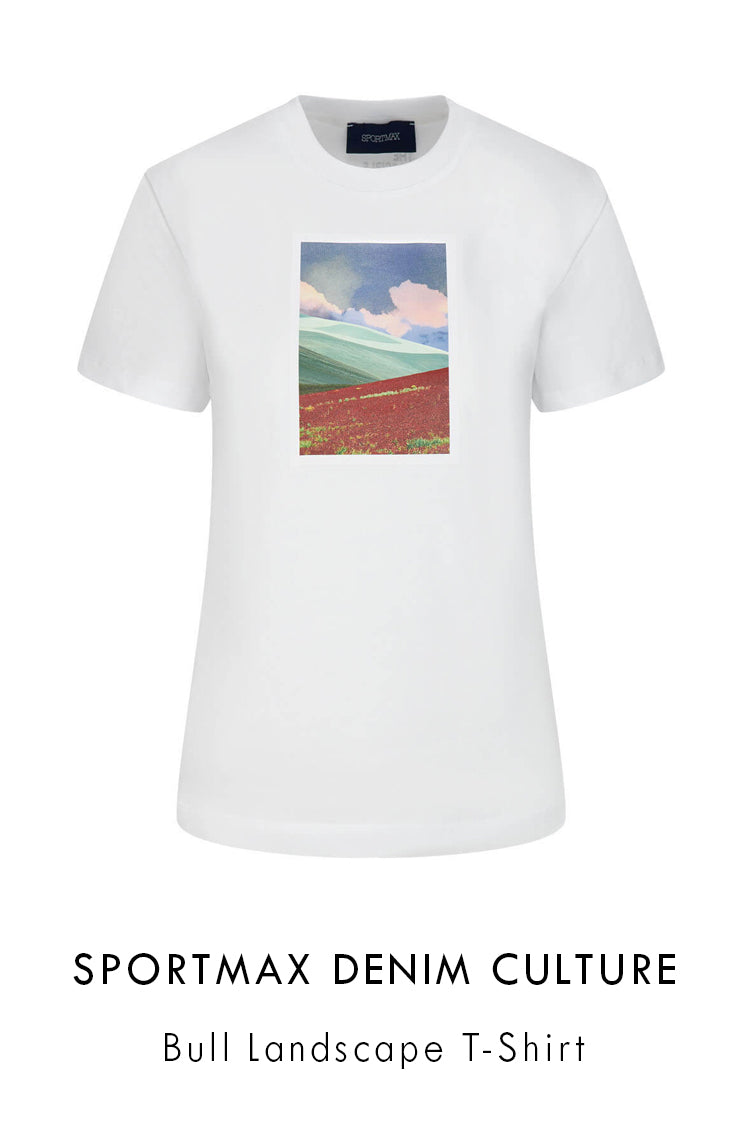 Sportmax Denim Culture white cotton t-shirt in a regular fit with short sleeves and ribbed round neck