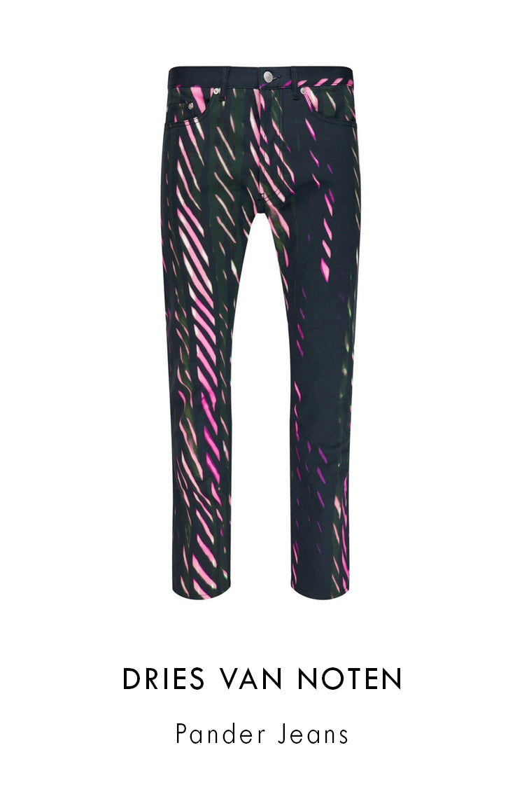 Dries Van Noten cotton denim jeans with black backing with an all-over pink diagonal striped pattern