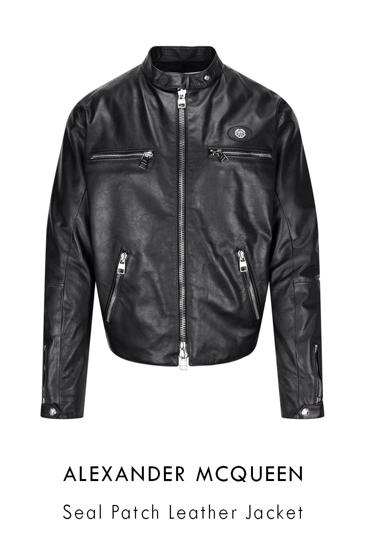 Alexander McQueen black leather jacket with oval seal logo patch