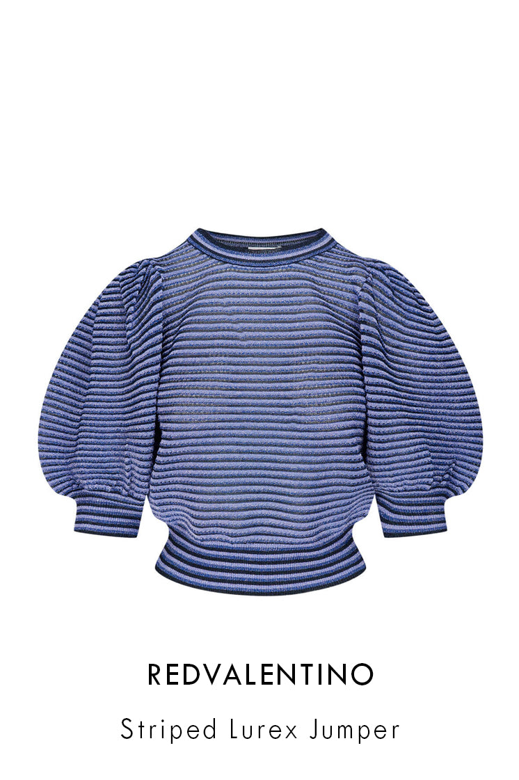 REDVaklentino blue lightweight knitted jumper with all-over horizontal stripes in blue