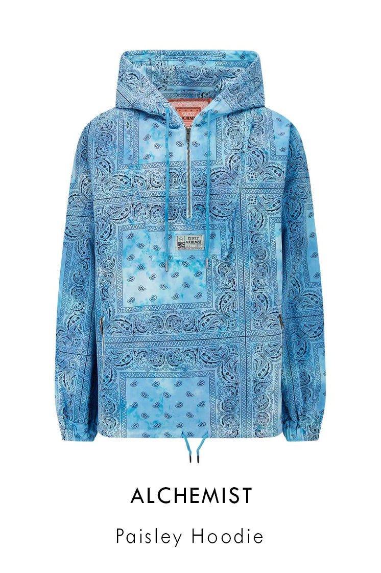 Alchemist Guess USA blue tie-dye cotton hoodie with all over paisley print