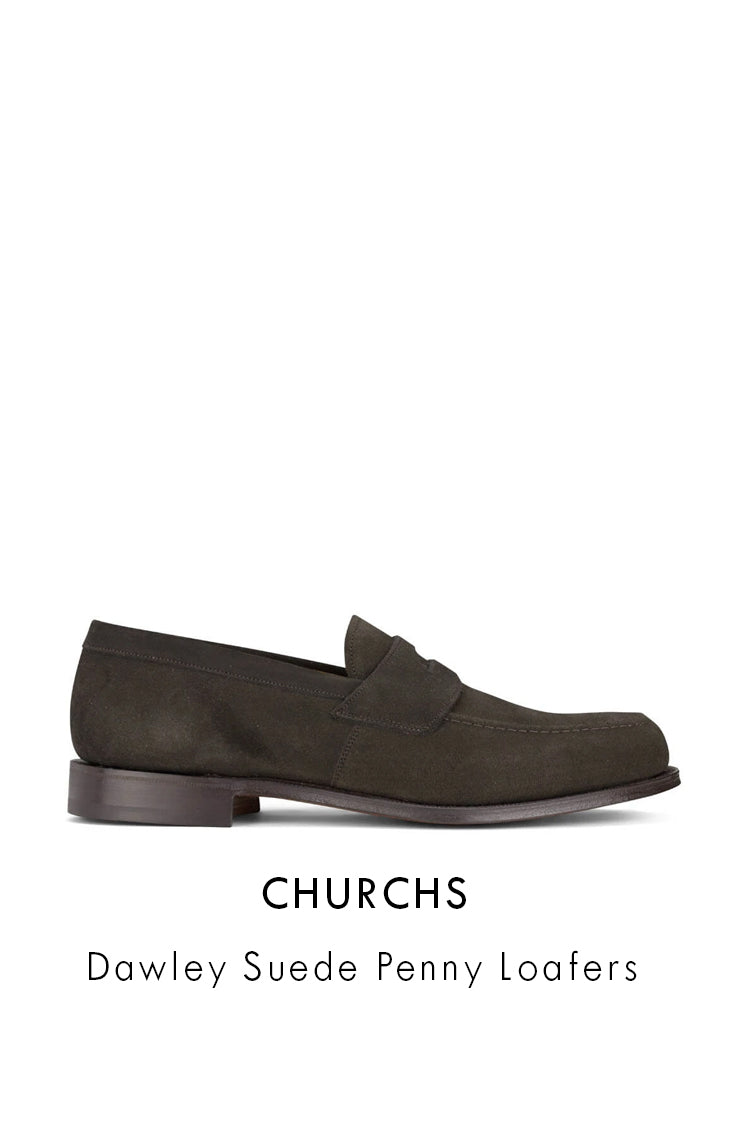 Churchs Brown Suede Leather Dawley Suede Penny Loafers