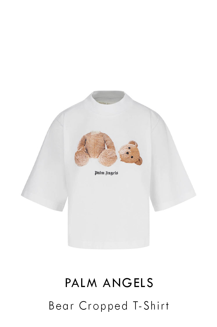 Palm Angels white cotton t-shirt with headless toy bear print at the front