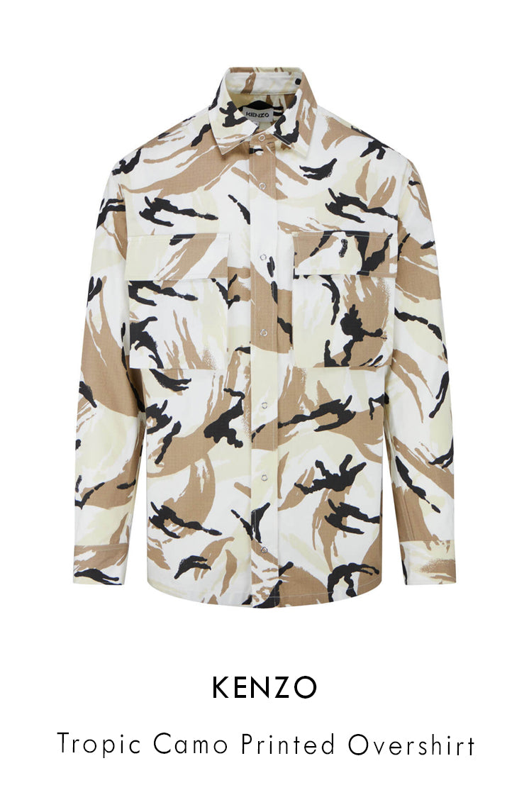 Kenzo cotton ripstop overshirt in off white