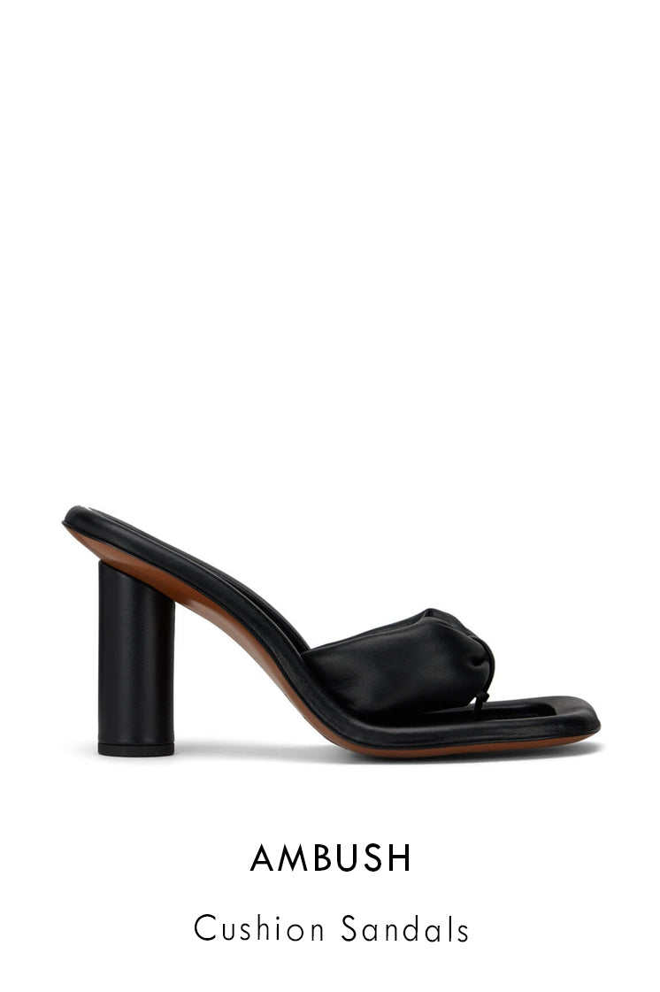AMBUSH black leather slip-on heels with toe grip with padded foot straps