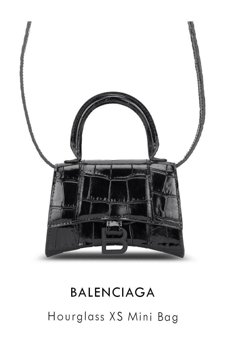 Balenciaga black patent leather bag with shiny crocodile embossing in unique hourglass shape