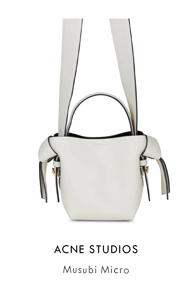 Acne Studios white leather micro bag with musubi knots