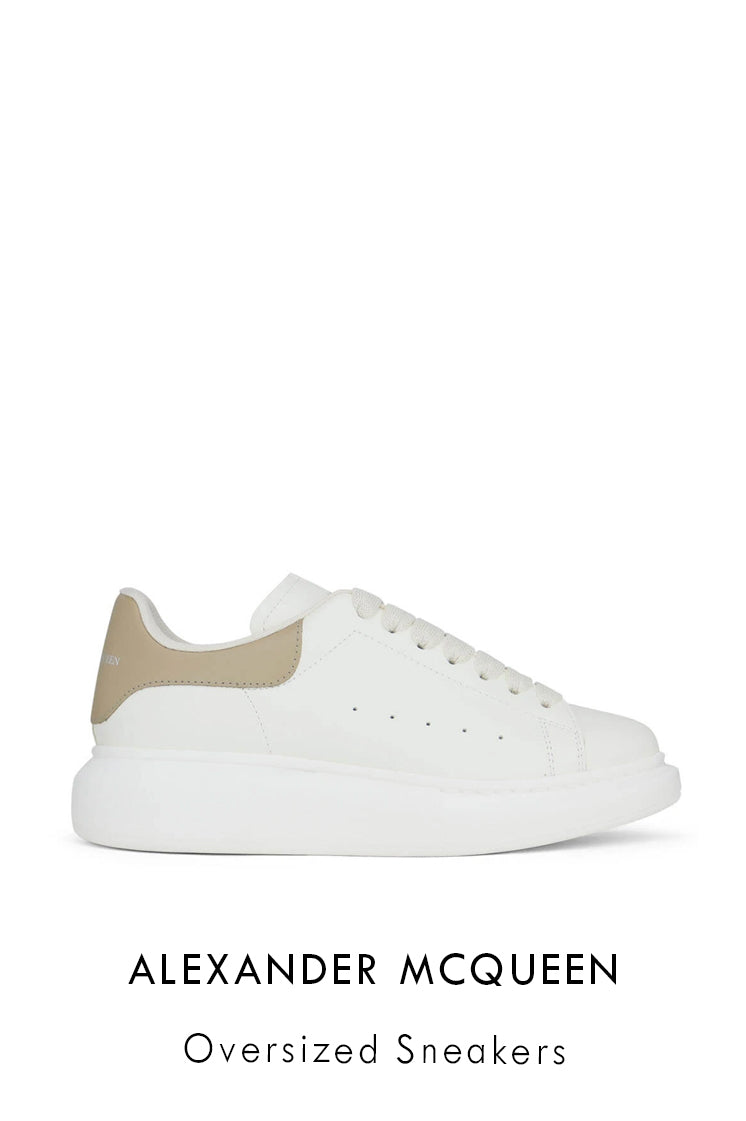 Alexander McQueen off-white leather sneakers with Alexander McQueen signature on the tongue and heel