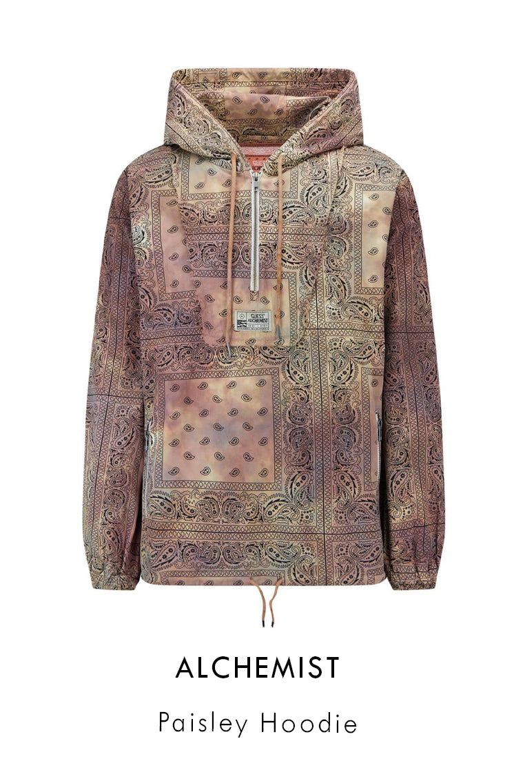 Alchemist Guess USA brown tie-dye cotton hoodie with all over paisley print