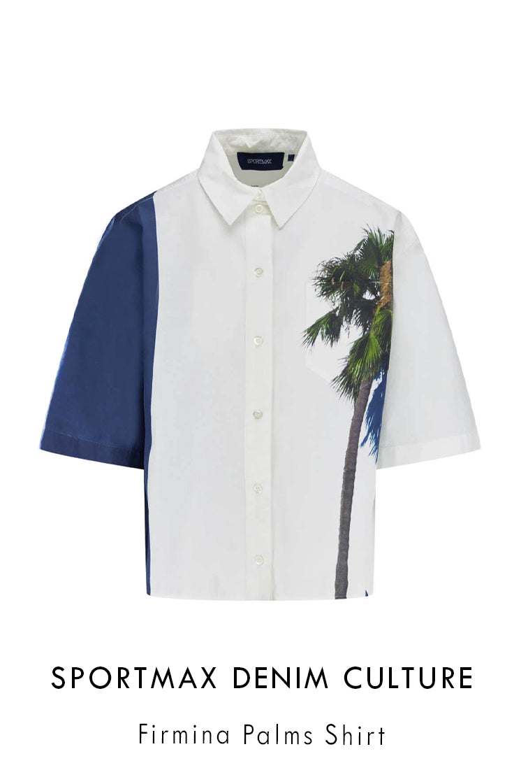 Sportmax Denim Culture relaxed fit white cotton shirt with palm tree print to the left side