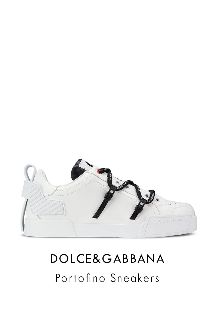 Dolce&Gabbana White Black Polyester Leather Portofino Sneakers