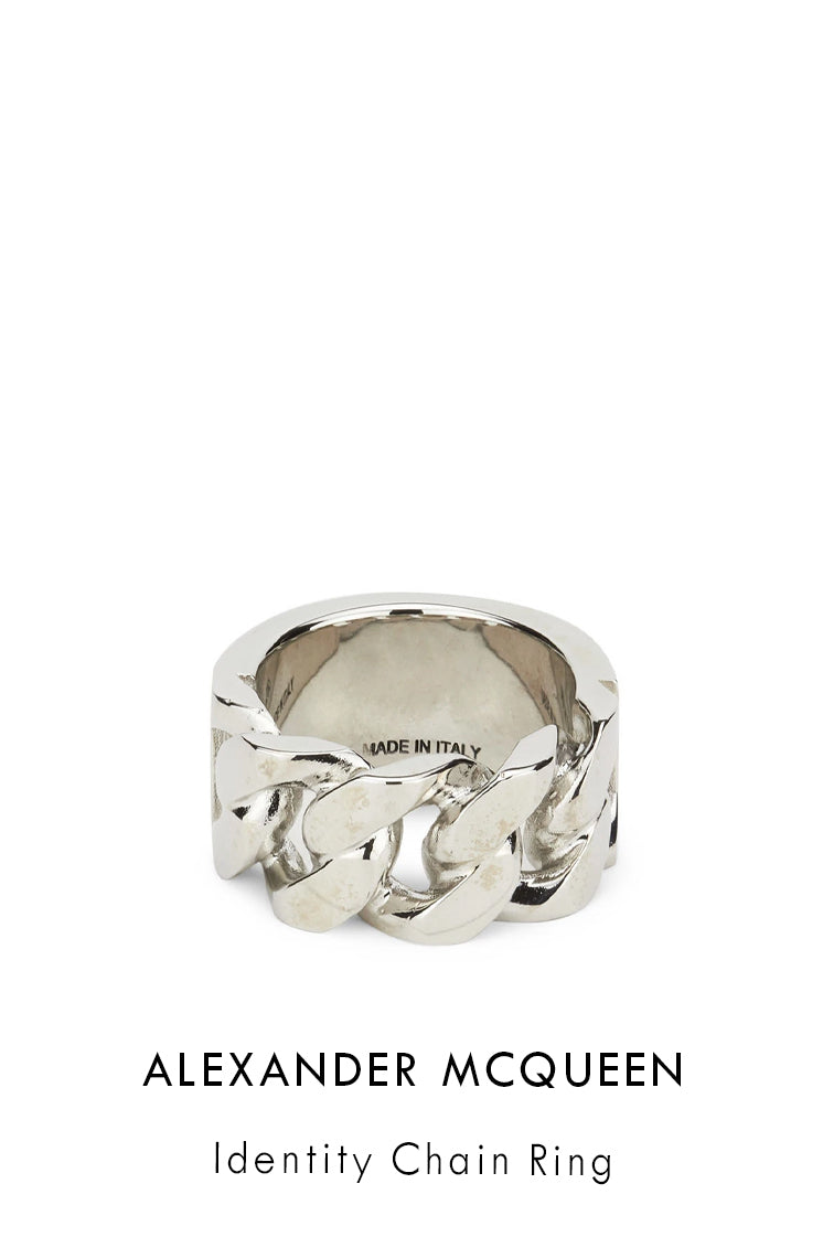 Alexander McQueen brass ring with an antique silver finish