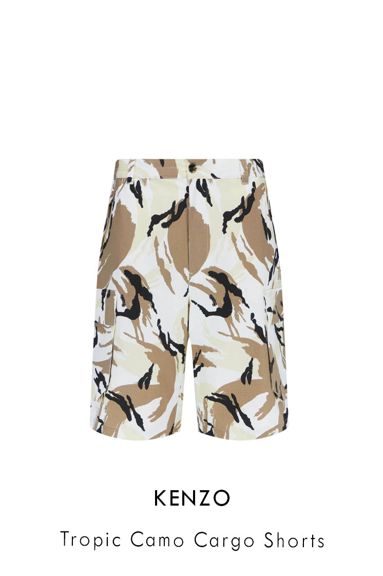 Kenzo cotton ripstop cargo shorts in off-white tropic camo print all over