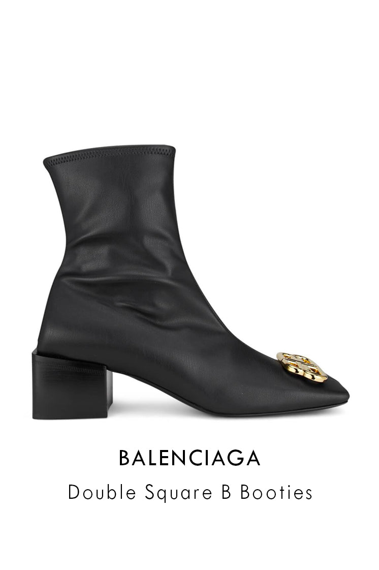 Balenciaga double square b black booties