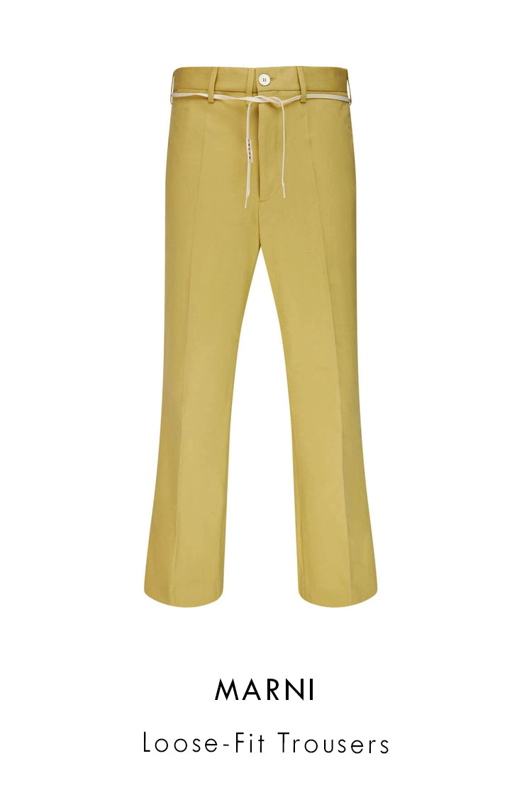 Marni Beige Cotton Blend Loose Fit Trousers