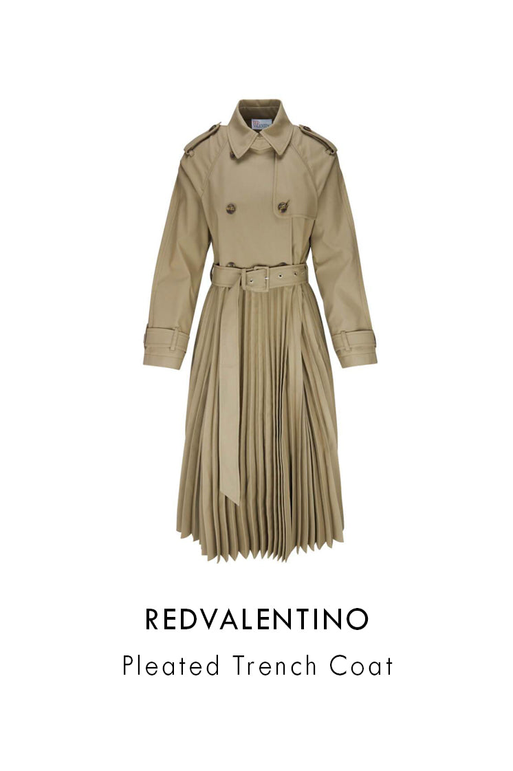 redvalentino beige bark pleated trench coat