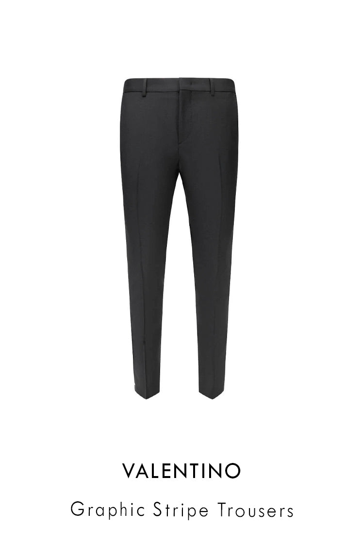 Valentino black wool mohair trousers