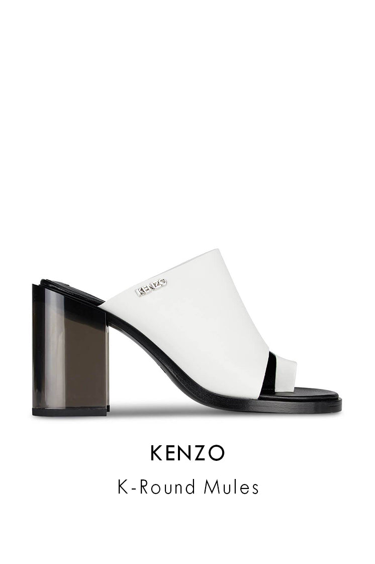 Kenzo K-Round White Leather Mules