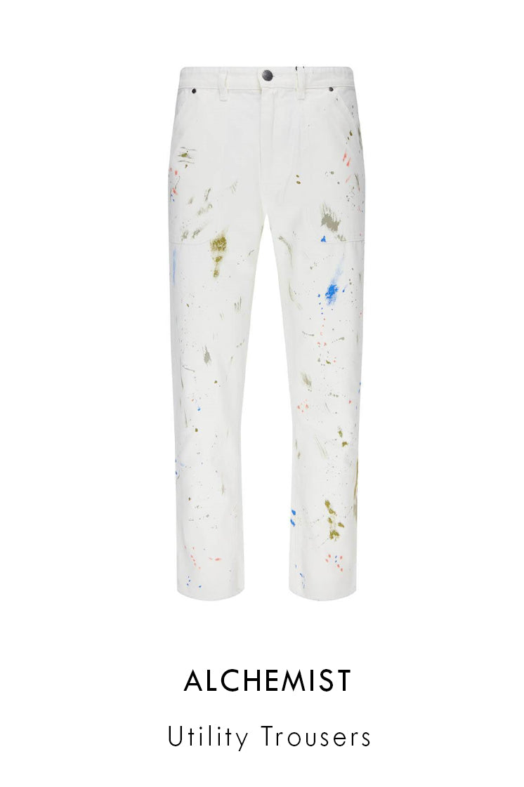 White cotton denim unitility trousers with all-over paint detailing