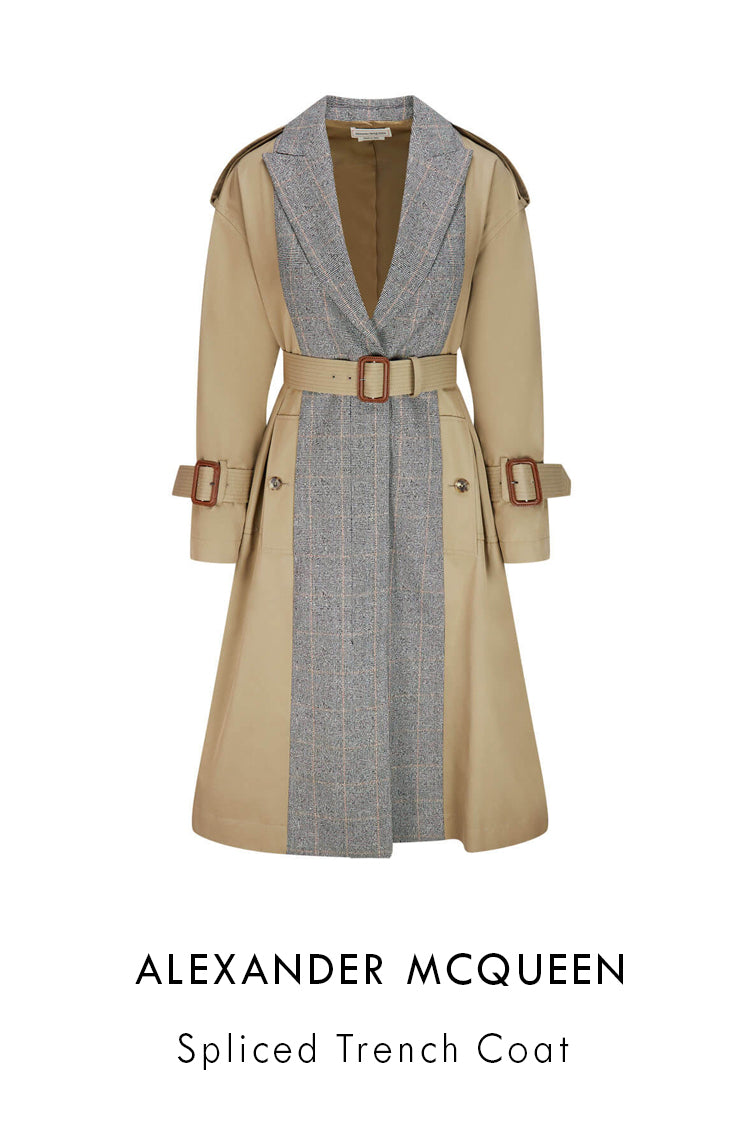 Alexander McQueen beige cotton gabardine trench coat spliced details wth wool Prince of Wales check inserts