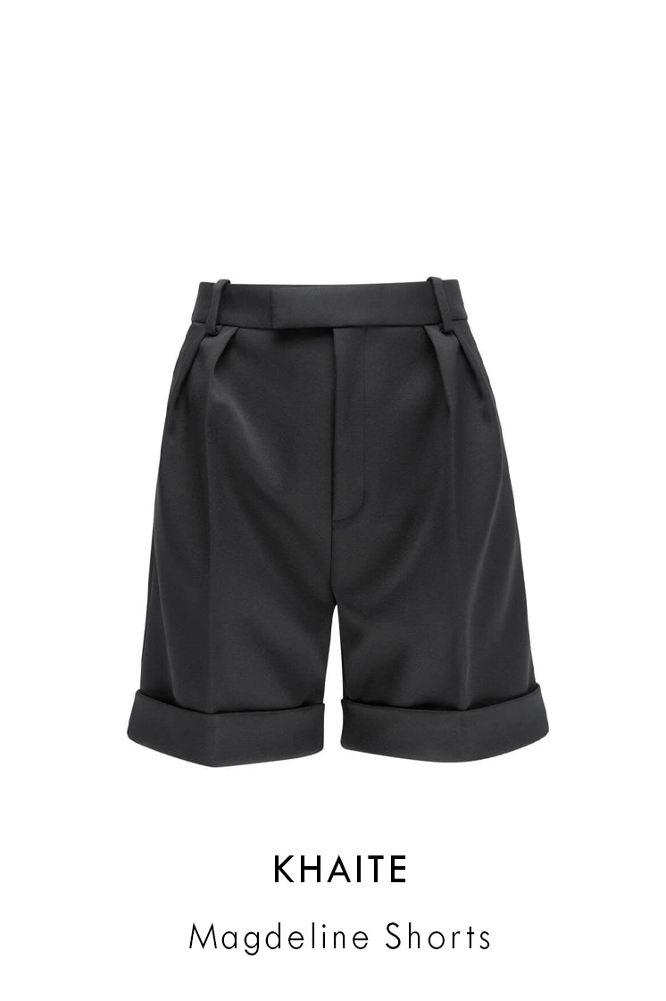 Khaite black strech fabric shorts