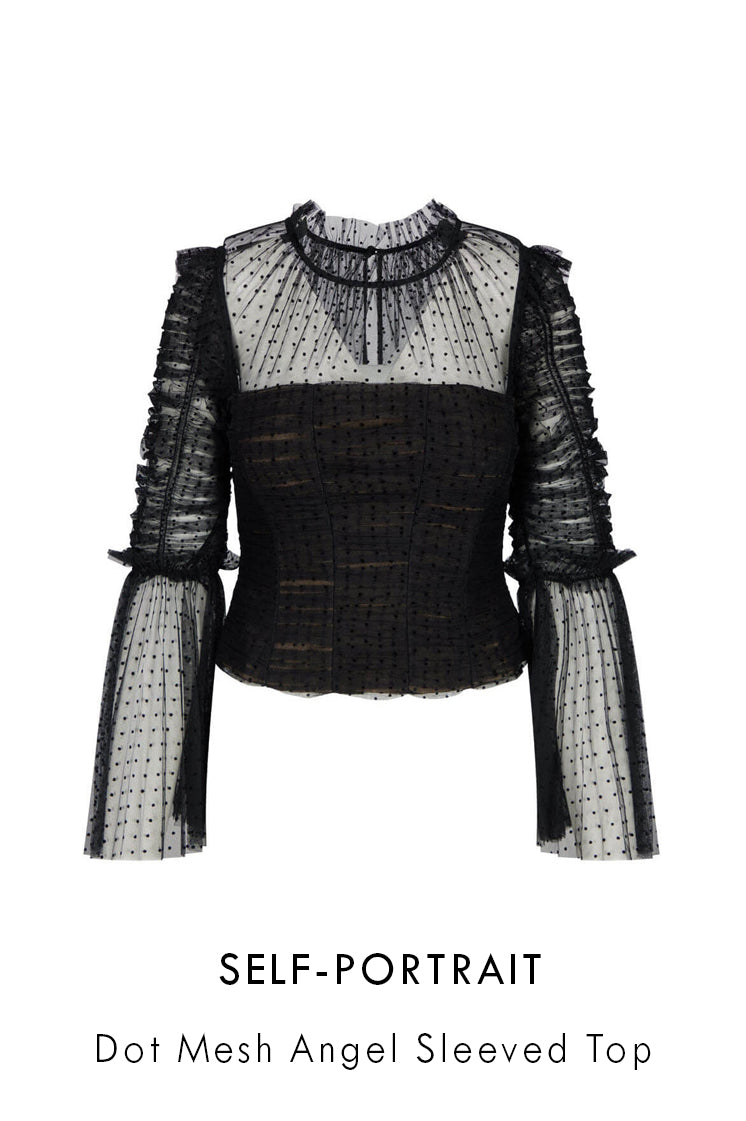 self-portrait black dot mesh top with statement flared sleeves and pleated frill inserts