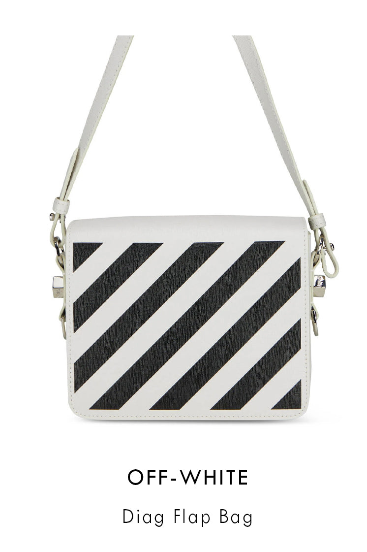 Off White white grained leather bag with black diagonal stripes at the front