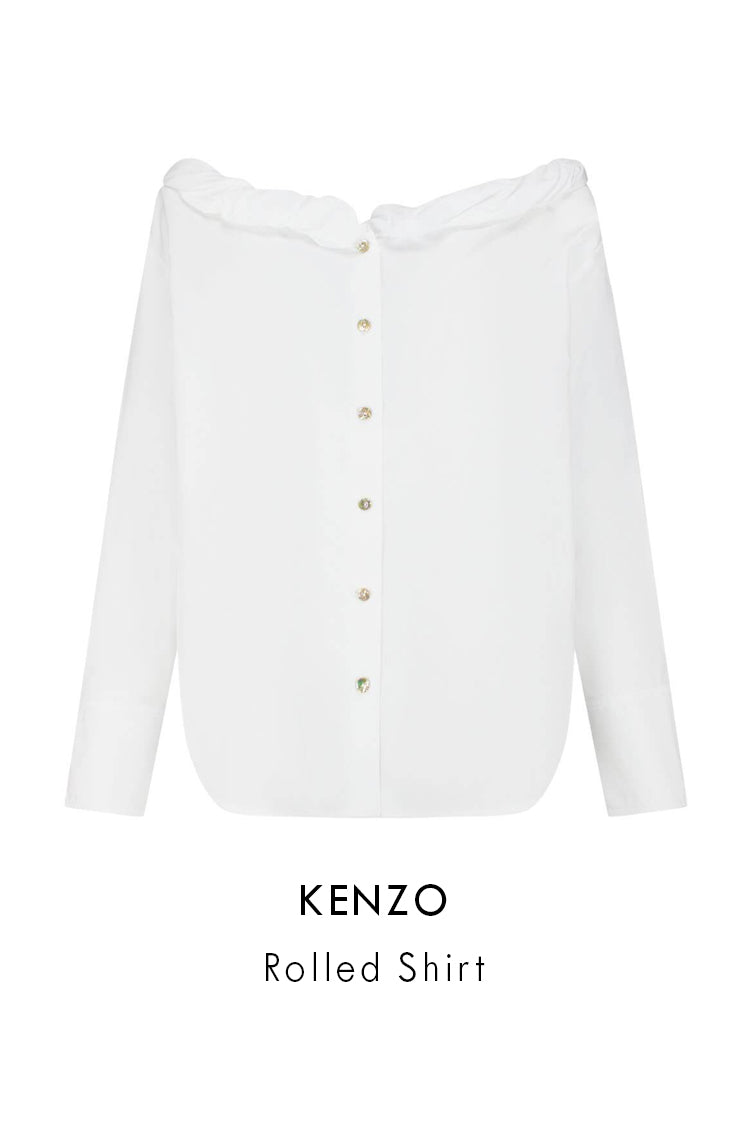 kenzo white cotton rolled shirt