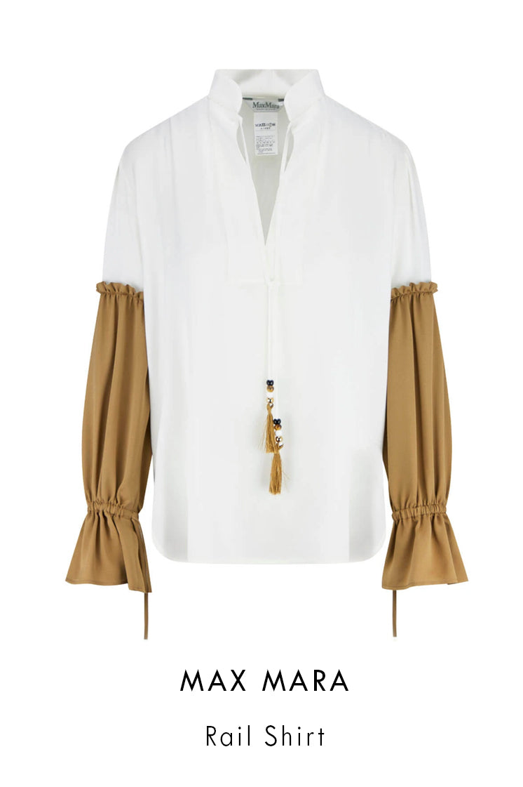 Max Mara white silk charmeuse blouse with contrast beige insert on sleeves with rouching