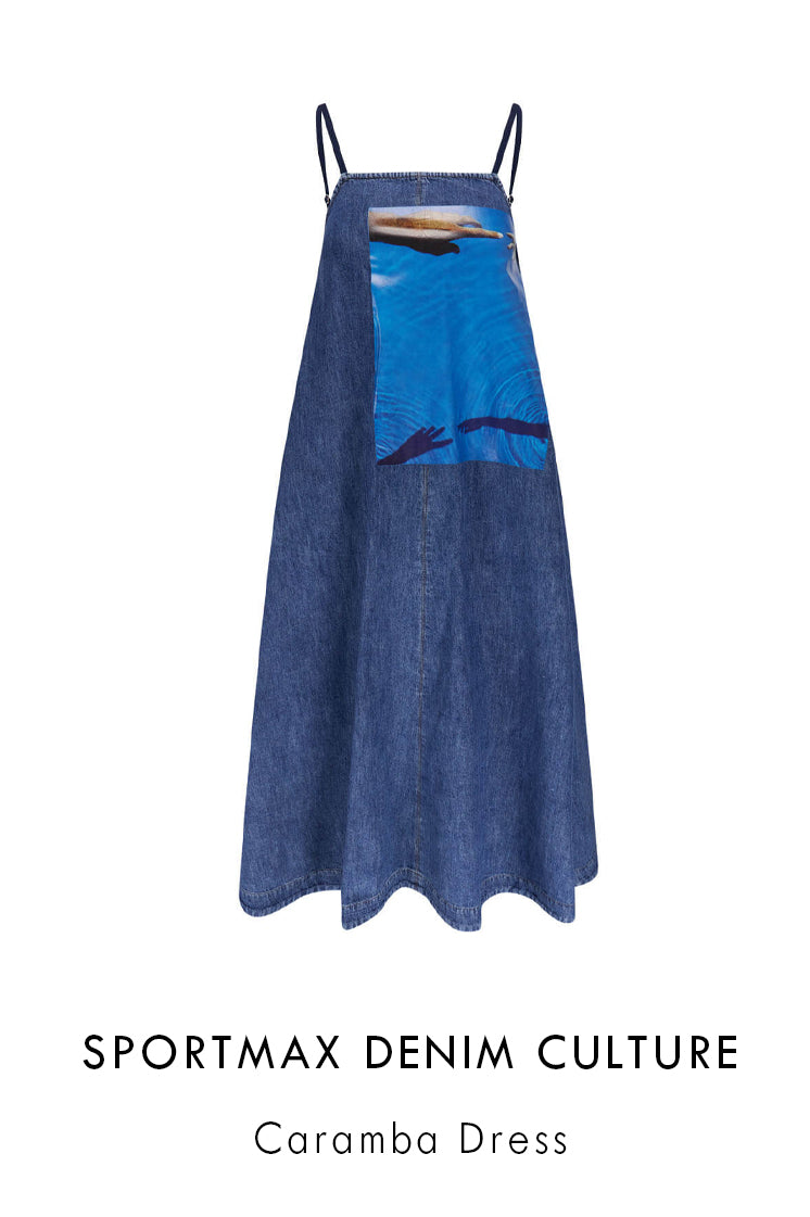 Sportmax Denim Culture midnight blue cotton midi denim dress  with water and hands print at the left side of the front