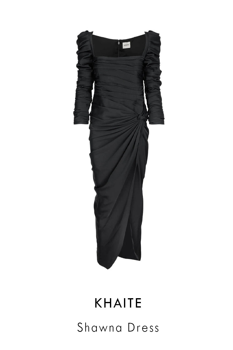 Khaite black crepe black satin dress